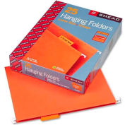 Smead® Hanging File Folders, 1/5 Tab, 11 Point Stock, Letter, Orange, 25/Box