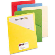Smead® Slash Pocket Folders, Letter, 11 Point, Blue/Green/Manila/Red/Yellow, 25/Pack