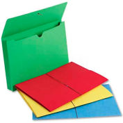 """Smead® 2"""" Accordion Expansion Wallet, Elastic Cord, Lgl, Blue/Green/Red/Yellow, 50/Box"""