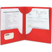 Smead® Lockit Two-Pocket Folder, Leatherette Stock, 11 x 8-1/2, Red, 25/Box