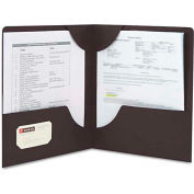 Smead® Lockit Two-Pocket Folder, Leatherette Stock, 11 x 8-1/2, Black, 25/Box