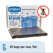 Stout® Insect-Repellent Garbage Bag 55 Gallon 2.00 Mil, Black 65 Bags/Box - STOP3752K20