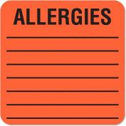 Tabbies® Medical Labels for Allergies, 2 x 2, Orange, 500/Roll