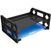 Side Load Letter Desk Tray, Two Tier, Plastic, Black