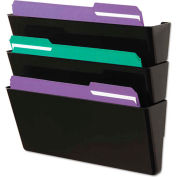 Universal Recycled Wall File, Three Pocket, Plastic, Black