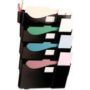 Universal® Grande Central Filing System, Four Pocket, Wall Mount, Plastic, Black
