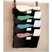 Universal® Grande Central Fling System, Four Pocket, Partition Mount, Plastic, Black
