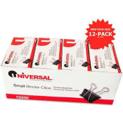 "Universal® Small Binder Clips, Steel Wire, 3/8"" Capacity, 3/4"" Wide, Black/Silver, 144/Pack"