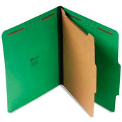 Universal® Pressboard Folder, Letter, Four-Section, Emerald Green, 10/Box