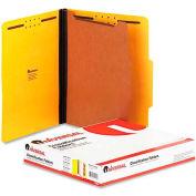 Universal® Pressboard Classification Folders, Letter, Four-Section, Yellow, 10/Box