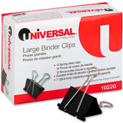 "Universal® Large Binder Clips, Steel Wire, 1"" Capacity, 2"" Wide, Black/Silver, Dozen"