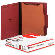 Universal® Pressboard Classification Folder, Letter, Four-Section, Red, 10/Box