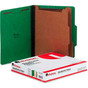 Universal® Pressboard Classification Folders, Letter, Six-Section, Emerald Green, 10/Box