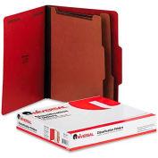 Universal® Pressboard Classification Folders, Letter, Six-Section, Ruby Red, 10/Box