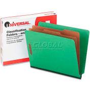 Universal® Pressboard End Tab Folders, Letter, Six-Section, Green, 10/Box