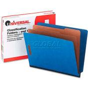 Universal® Pressboard End Tab Classification Folders, Letter, Six-Section, Blue, 10/Box
