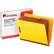 Universal® Pressboard End Tab Classification Folders, Letter, Six-Section, Yellow, 10/Box