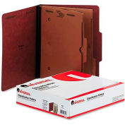 Universal® Pressboard Folder with 2 Dividers, Letter, Six-Section, Red, 10/Box