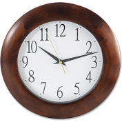 "Universal Round Wood Clock, 12-3/4"", Cherry"