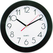 "Universal Round Wall Clock, 9-3/4"", Black"