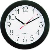 "Universal Round Wall Clock, 9-3/4"", Black"