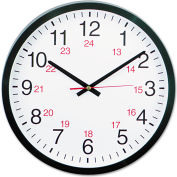 "Universal 24-Hour Round Wall Clock, 12 3/4"", Black"