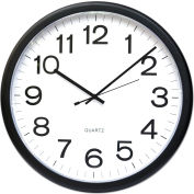 "Universal One Round Wall Clock, 13-1/2"", Black"