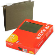 Universal® Hanging File Folders, 1/5 Tab, 11 Point Stock, Letter, Standard Green, 25/Box