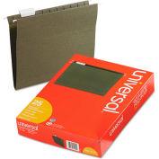 Universal® Hanging File Folders, 1/5 Tab, 11 Point Stock, Letter, Standard Green, 25/Box