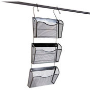 Universal One Mesh Three-Pack Wall Files with Hanger, Letter, Black