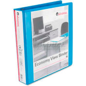 "Universal® Economy D-Ring Vinyl View Binder, 1"" Capacity, Light Blue"