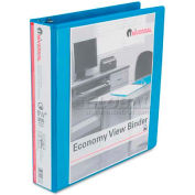 "Universal® Economy D-Ring Vinyl View Binder, 1-1/2"" Capacity, Light Blue"