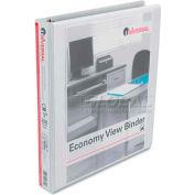 "Universal® Economy D-Ring Vinyl View Binder, 1"" Capacity, White"