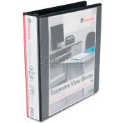 "Universal® Economy D-Ring Vinyl View Binder, 1-1/2"" Capacity, Black"