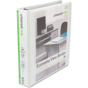 "Universal® Economy D-Ring Vinyl View Binder, 1-1/2"" Capacity, White"