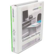 "Universal® Economy D-Ring Vinyl View Binder, 1-1/2"" Capacity, White"