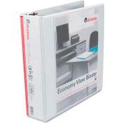 "Universal® Economy D-Ring Vinyl View Binder, 2"" Capacity, White"