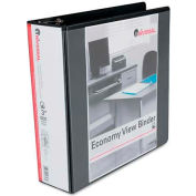 "Universal® Economy D-Ring Vinyl View Binder, 3"" Capacity, Black"