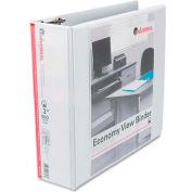"Universal® Economy D-Ring Vinyl View Binder, 3"" Capacity, White"