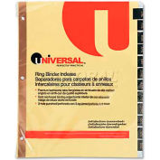 Universal One Leather-Look Mylar Tab Dividers, 12 Month Tabs, Letter, Black/Gold, 12/Set