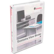 """Universal® Round Ring Economy Vinyl View Binder, 1/2"""" Capacity, White"""