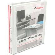 """Universal® Round Ring Economy Vinyl View Binder, 1"""" Capacity, White"""