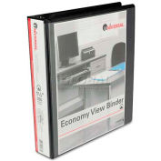 "Universal® Round Ring Economy Vinyl View Binder, 1-1/2"" Capacity, Black"