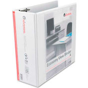 "Universal® Economy D-Ring Vinyl View Binder, 4"" Capacity, White"