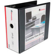 "Universal® Economy D-Ring Vinyl View Binder, 5"" Capacity, Black"