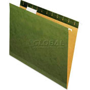 Universal® Reinforced Recycled Hanging Folder, 1/5 Cut, Letter, Standard Green, 25/Box