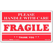 "Universal® ""Fragile Handle With Care"" Self-Adhesive Shipping Labels, 3 x 5, 500/Roll"