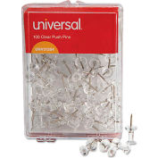 """Universal® Clear Push Pins, Plastic, 3/8"""", 100/Pack"""