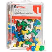 "Universal® Colored Push Pins, Plastic, Rainbow, 3/8"", 100/Pack"