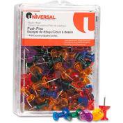 "Universal® Colored Push Pins, Plastic, Gemstone, 3/8"", 100/Pack"